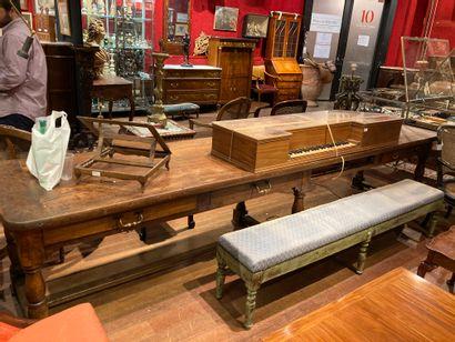 Large walnut table, six baluster feet, opening...