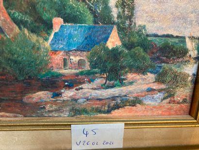 Breton landscape  oil on canvas  12 x 16  framework  Lot sold as is