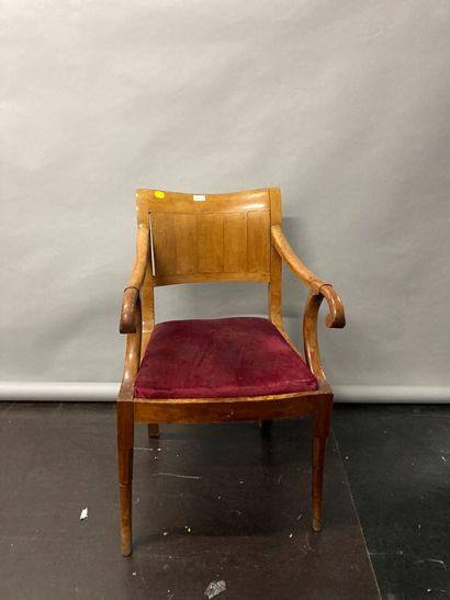Office armchair in fruit wood  nineteenth...