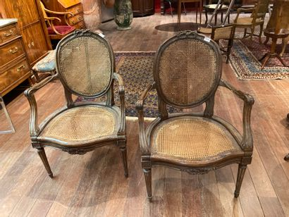 Pair of caned medallion armchairs Stamp...