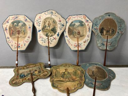 Set of seven fans with engraved decoration,...