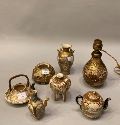Lot of Satsuma of 7 pieces including lamp...