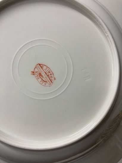 Large batch of white and gold porcelain, some monogrammed SD, including soup plates...
