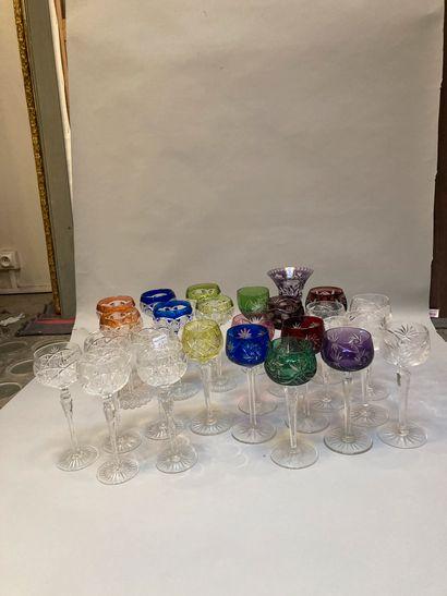 Approx. 20 multicoloured Rhine wine glasses,...