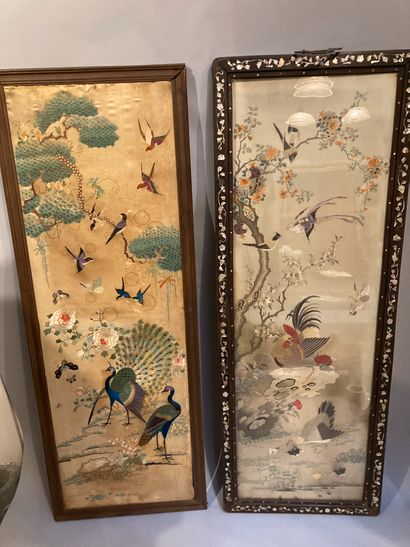 Two woven silk panels, one decorated with...