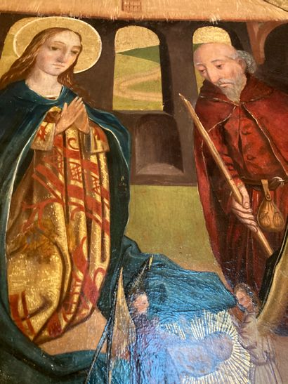 Nativity, modern school in the taste of the 15th century productions  Oil on panel...