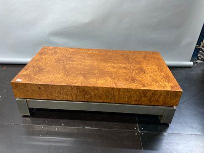 Burr veneer coffee table with metal base...