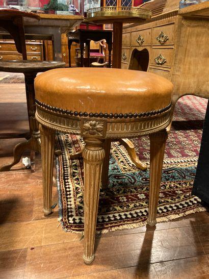 Piano stool Louis XVI style H: 50 - Diam:...
