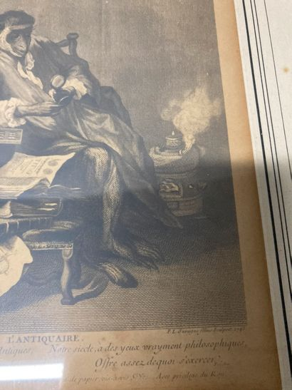 Two frames: an engraving l'Antiquaire d'après Chardin, and a frame in the taste...