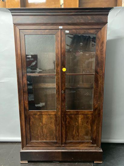 Mahogany veneer glass bookcase with shelves...