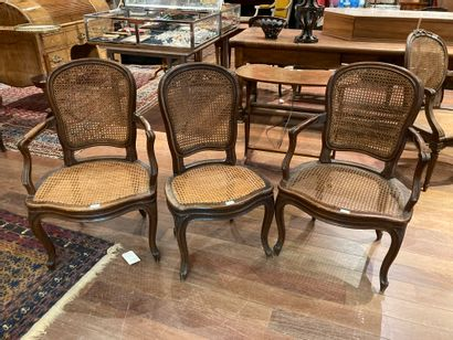 Two armchairs and a chair, mouldedLouis...