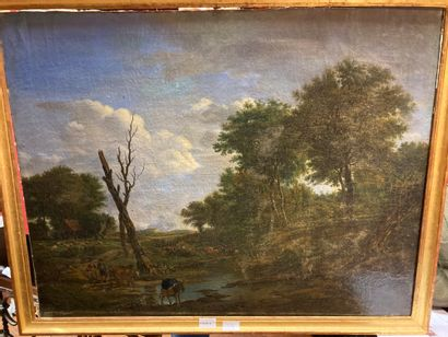 French School of the XIXth century Pastoral landscape, ford Oil on canvas 66 x 84...