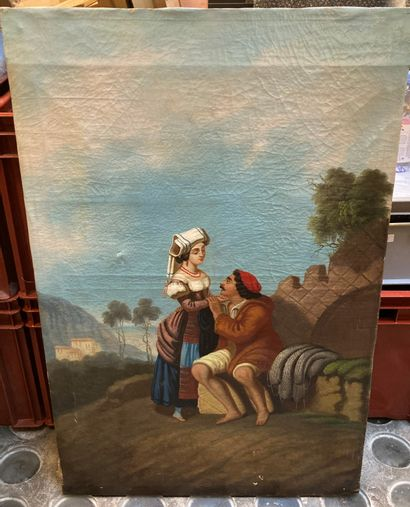 Gallant scene in the taste of Neapolitan paintings  Oil on canvas  92 x 61 cm  Accidents...