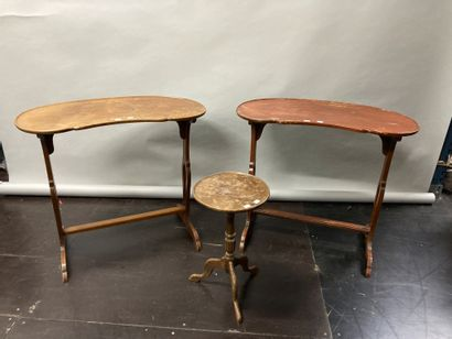 Two mahogany stained wood kidney pedestal...