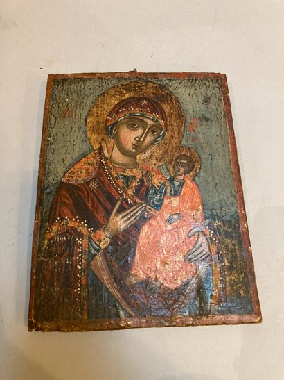 Virgin and Child  Icon on wood  23 x 18 cm...