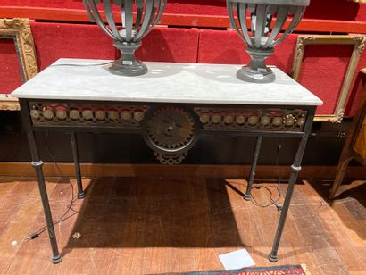 Wrought iron console, white marble top Reassembly...