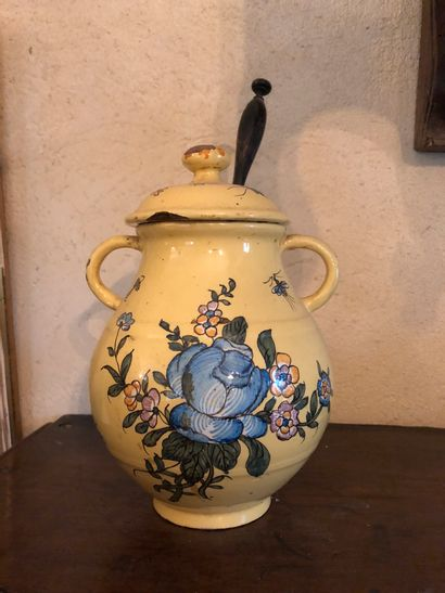 Vinegar jar with floral decoration, yellow...
