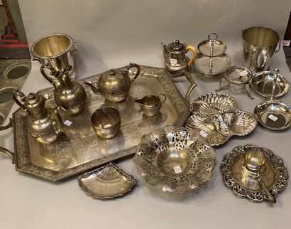 Silver plated metal handle including a tray with its tea service and various objects...