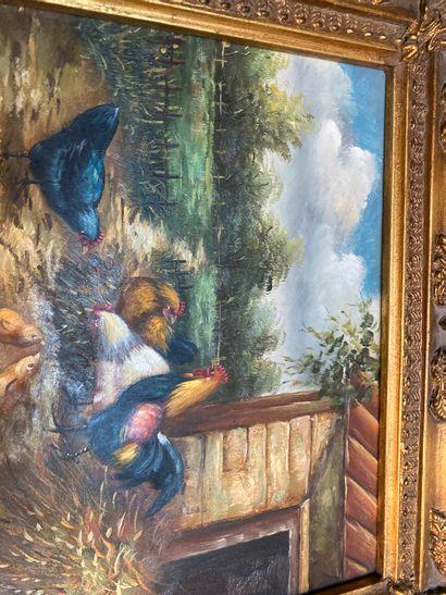 Barnyard scene  Oil on panel  20 x 25 cm  framework  Lot sold as is