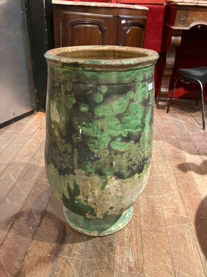 BIOT Green enamelled oil jar wrecked and...