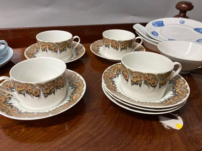 Porcelain set including tea and coffee set with Etruscan vase (accidents), Limoges...