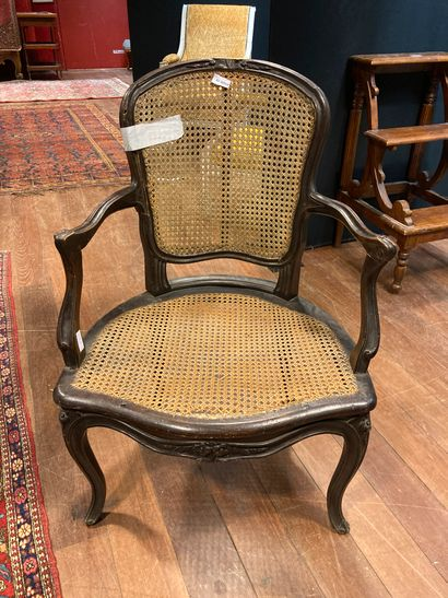 Louis XV period caned armchair H : 88 -...