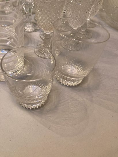 Glassware handle including carafes, glasses, bowl and vase, all unpaired  scratches,...