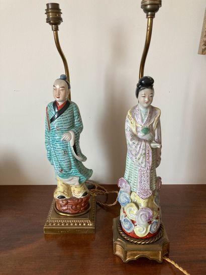 CHINEPaire of Characters mounted in lamps...