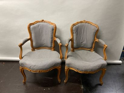 Pair of natural beech cabriolet armchairs...