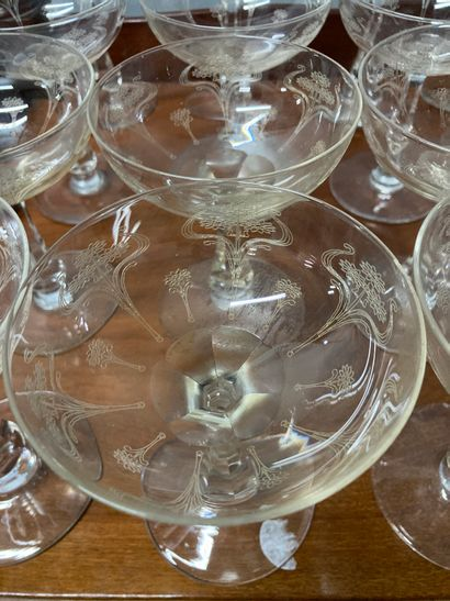 Strong crystal serving tray, champagne glasses (approx. 20), water glasses (approx....