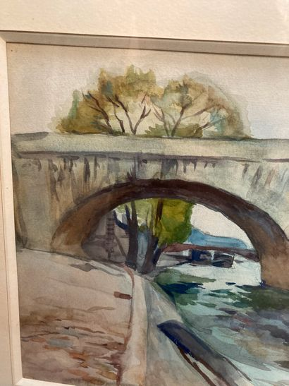 The Royal Bridge  Watercolour with signature A. Fidrit at bottom right  23.5 x 32...