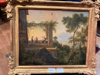 Italian School circa 1800 Under the pergola Framed oil on canvas 32 x 40 cm Small...