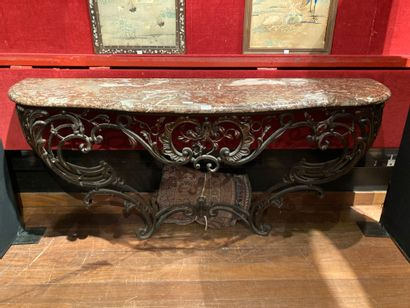 Wrought iron and sheet metal console Wrought...