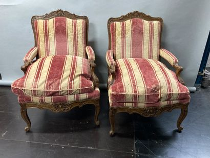 Pair of large natural walnut armchairs  Regency...