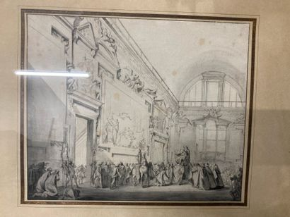 Italian School circa 1800  Reception of a pope  Pencil and wash  24.5 x 29 cm  Tasks...