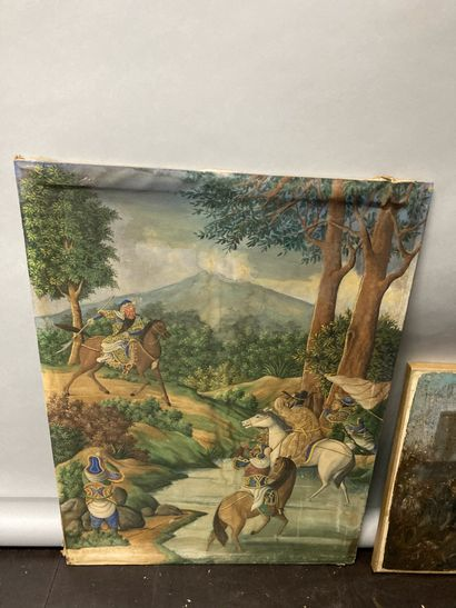 Set of two canvases:  Tibetan school, warriors scene signed lower right Kwee Liang...
