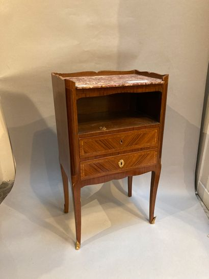 Veneer bedside table with two drawers and...