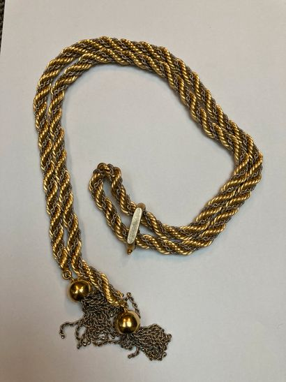 A twisted gold and silver fancy necklace...