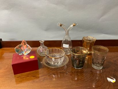 Lot of glassware including vases, tinted...
