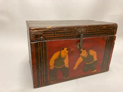 Wooden chest with painted decoration of two...
