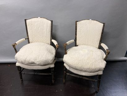 Pair of provincial wooden armchairs, cream...