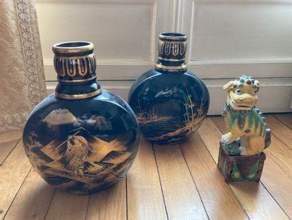 Lot including two vases in the taste of japanism...