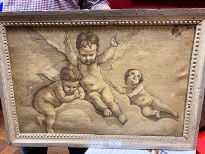 Ecole française du XIXème siècle Trois angelots...