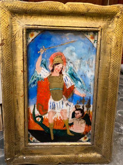 Saint Michel  Fixé sous verre  50 x 30 cm...
