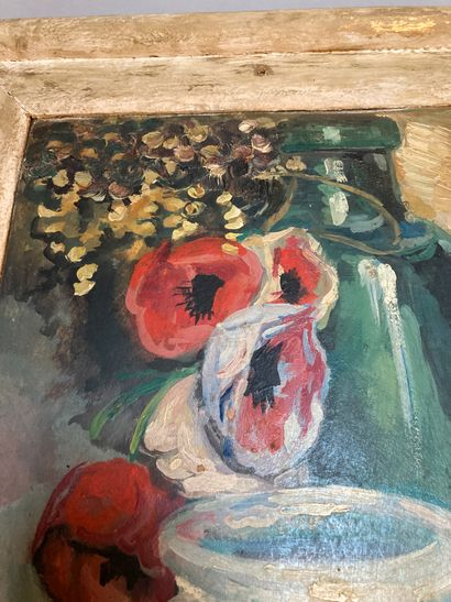 Goldfish and poppies  Oil on panel bearing Campas- Ribera's signature (?) lower...