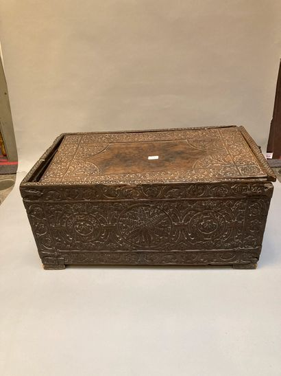 Small carved wooden travel trunk decorated...