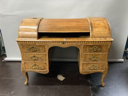 Double-sided veneered cylinder desk  Foreign...