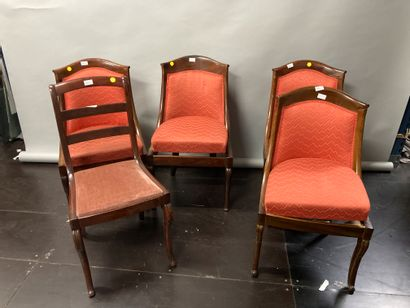 Four gondola chairs, red upholstery and a...