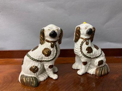 Pair of earthenware pugs, Stadforshire, England...