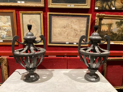 Two openwork and lacquered wood lamps H:...